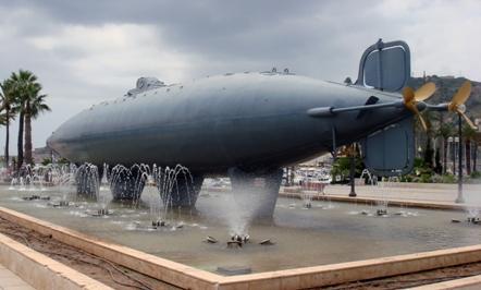 Submarino de Isaac Peral, expuesto en el Puerto de Cartagena